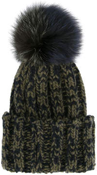 Inverni ribbed beanie with fox fur pom pom