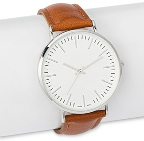 Merona Men's Strap Watch with White Dial Brown