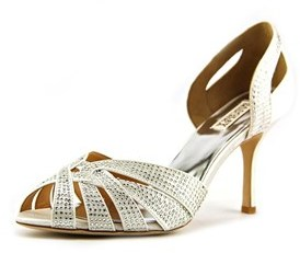 Badgley Mischka Tatiana Women Peep-toe Canvas White Heels.