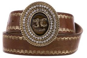 Just Cavalli Leather Embellished Buckle Belt