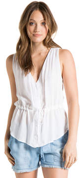 Bella Dahl Button Front Tank-White-XS