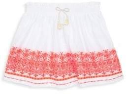 Lili Gaufrette Toddler's& Little Girl's White Skirt With Orange Trim