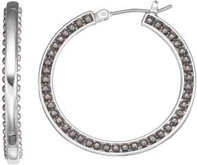 Dana Buchman Jet Beaded Hoop Earrings