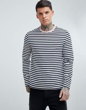 Farah Trafford Slim Fit Stripe Long Sleeve Top in Navy