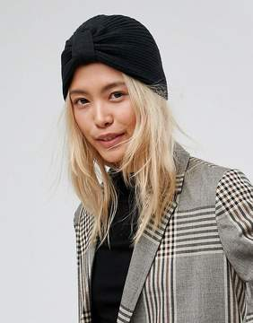 Asos New Rib Basic Knot Front Hat In Black