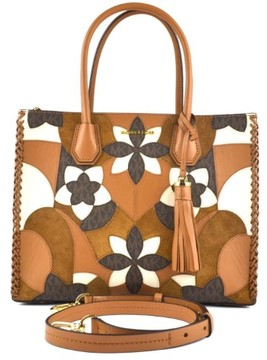 Michael Kors Mercer Large Floral Patchwork Leather Tote - Acorn/Brown - 30T7GM9T7T-814 - ONE COLOR - STYLE