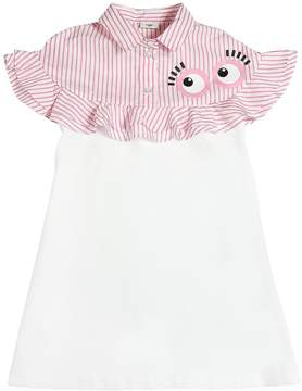 Fendi Cotton Dress W/ Ruffles & Printed Eyes