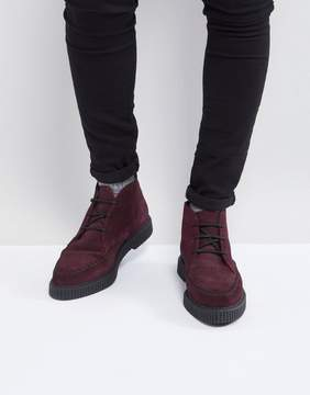 Asos Lace Up Boots In Burgundy Suede With Creeper Sole