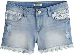 Mudd Girls 7-16 & Plus Size Crochet Trim Denim Shorts