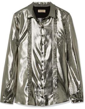 Burberry Pintucked Silk-blend Lamé Shirt - Silver
