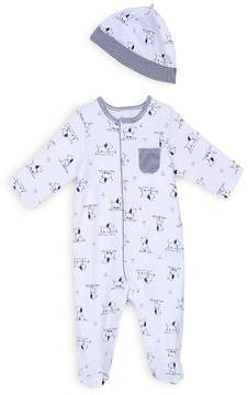 Little Me Boys' Puppy Print Footie & Hat Set - Baby