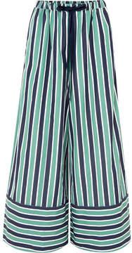 Fendi Striped Cotton-poplin Wide-leg Pants - Green