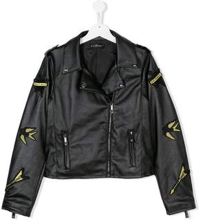 John Richmond Kids TEEN faux leather badge jacket