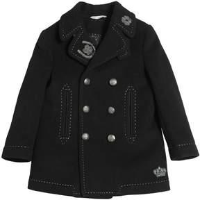 Dolce & Gabbana Lucky Patches Wool Blend Felt Coat