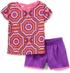 Gaiam Pink Geometric Crisscross-Back Tee & Purple Shorts - Girls