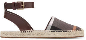 Burberry Leather-trimmed Checked Canvas Espadrilles - Burgundy