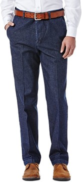 Haggar Men's Work to Weekend Classic-Fit Flat-Front Denim Pants
