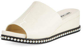 Karl Lagerfeld Paris Ali Patent Wedge Mule Sandal with Pearly Detail