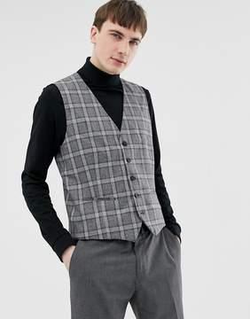 Selected Skinny Vest In Salt N Pepper Check