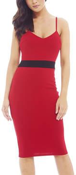AX Paris Red & Black Band Bodycon Dress - Women