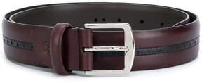 Canali contrast stripe buckle belt
