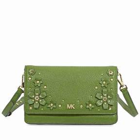 Michael Kors Floral Embellished Convertible Crossbody- True Green