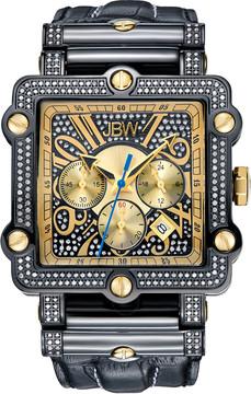 JBW Phantom Black Chronograph Crystal Dial Black IP Steel Diamond Men's Watch