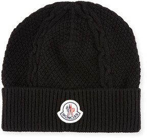Moncler Men's Cable-Knit Cashmere Beanie Hat
