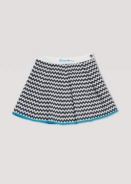 Armani Junior Cotton Canvas Skirt With Zigzag Pattern