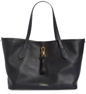 Burberry 'Medium Honeybrook' Leather Tote - Black