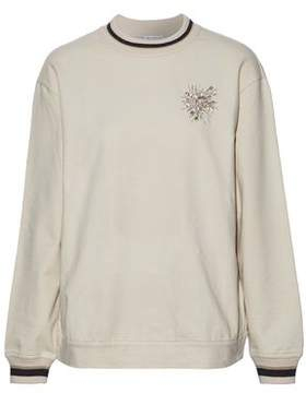 Brunello Cucinelli Embellished Stretch Cotton-Jersey Sweater