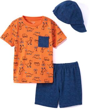 Petit Lem Orange Dinosaur Pocket-Front Tee Set - Newborn & Infant