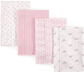 Luvable Friends Light Pink Tiara Layered Flannel Burp Cloth - Set of Four