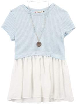 Speechless Girls 7-16 Knit Short Sleeve Tunic with Necklace