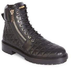 Balmain Quilt Zip Leather Boots