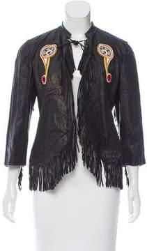 Trussardi Fringe Trim Leather Jacket w/ Tags