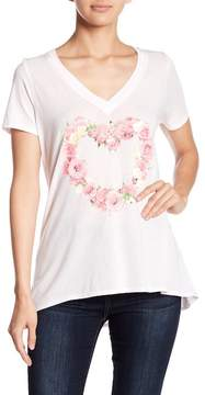 Chaser Rose Heart Hi-Lo V-Neck Tee