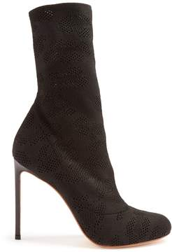 Francesco Russo Eyelet-knit sock ankle boots