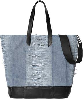 Diesel Ripped Denim Tote Bag W/ Leather Details
