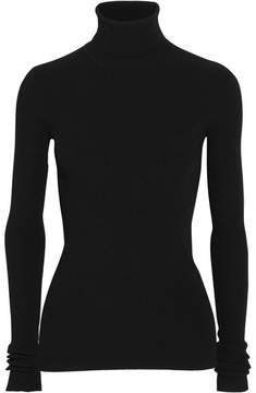 Jil Sander Open-back Ribbed-knit Turtleneck Sweater - Black