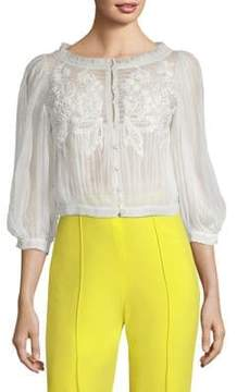 Alice + Olivia Lavone Embroidered Blouse