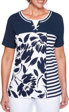 Alfred Dunner Americas Cup Short Sleeve Round Neck Floral T-Shirt-Womens