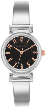 Anne Klein Silvertone Black Dial Bracelet Watch with Rosetone Accents
