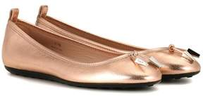 Tod's Metallic leather ballerinas
