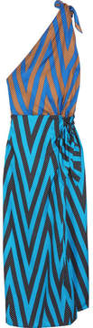Diane von Furstenberg One-shoulder Printed Silk-twill Midi Dress - Blue