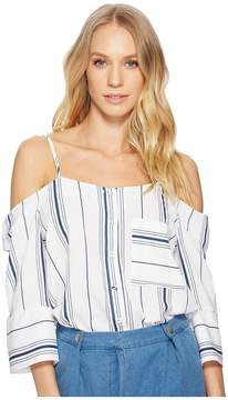 J.o.a. Cold Shoulder Button Up Top Women's Clothing