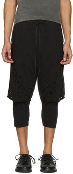The Viridi-anne Black Destroyed Layered Shorts