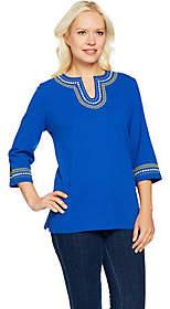 Denim & Co. 3/4 Sleeve Crinkle Gauze Top withEmbroidery