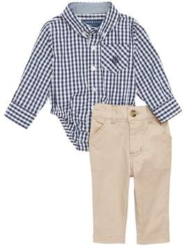 Andy & Evan Shirtzie Gingham Check Bodysuit & Pants Set