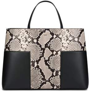 Tory Burch BLOCK-T EMBOSSED TRIPLE-COMPARTMENT TOTE - NATURAL/BLACK - STYLE